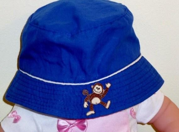 SALE: Baby Boy Bucket Hat with Applique Blue Baby Boy Bucket