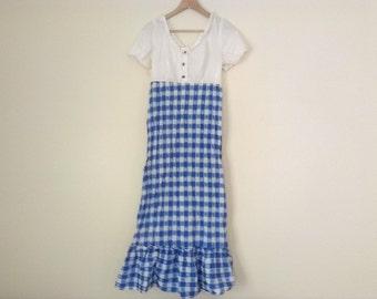 70s vintage Blue and White dress medium
