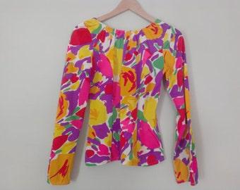 70s vintage floral polyester peasant blouse - medium