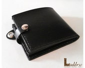 Handstitched 2 folds man leather wallet - can be hooked with belt/chain-10 card slots