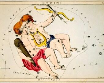 Astronomy, Moon map, Constellation poster, Constellation of Gemini, 152