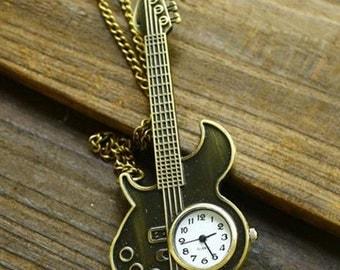 1pcs  37x90mm  Bronze Rock guitar pocket watch charms pendant PW035