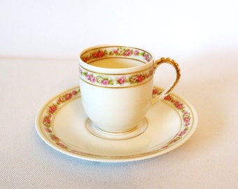 Antique Limoges Teacup Demitasse Cup with Saucer Set  Shabby Cottage Chic Pink Roses and Gold - A Lanternier Limoges  - France - Circa 1890