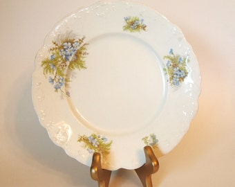 Antique Plate Johnson Bros Blue Floral Plate with Embossed Edges - England - Circa Early 1900's | Shabby Cottage Chic Dining Decor