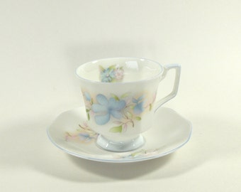 Vintage Queens Rosina Fine Bone China Teacup with Blue and Pink Flowers - England