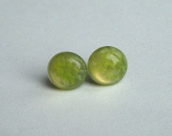 Lemon Yellow Candy Dot Earrings Studs on Surgical Steel, Shimmer Stud