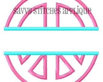 Split Peace Sign Machine Embroidery Applique Design