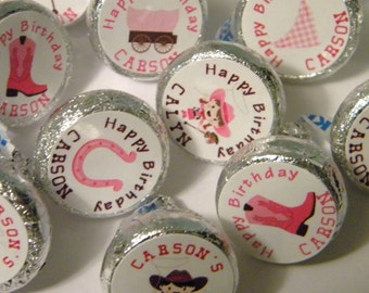 Cowgirl Party Favors - Personalized Cowgirl Birthday Party Hershey Kiss Sticker Favors - Western Hershey Kisses - Cowgirl Favors