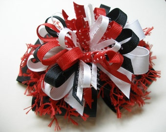 Hair Bow Red White Black Unique Uniform Big Boutique Toddler Girl Korkers Back to School Handmade