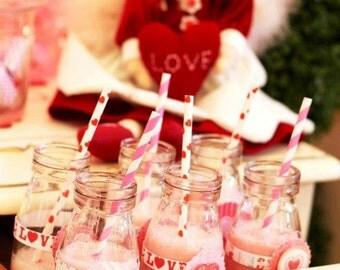 36 Glass Milk Jars- Vintage Party Bottles Wedding Drink Jugs and Glasses Mini Milk Jug Featured in PEOPLE Magazine