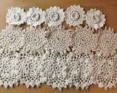 15 Whites, Creams, and Beige Vintage Crochet Doily Coaster Medallions-upcycle