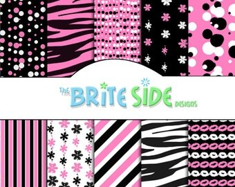 DIVA Zebra Collection - Digital Scrapbooking Paper Pack - 10 Sheets - Perfect for any girl - Teenager
