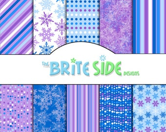 WINTER SNOWFLAKES Collection - Digital Scrapbooking Paper Pack - 10 Sheets