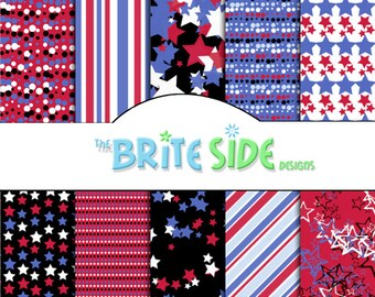 4TH OF JULY Collection - Digital Scrapbooking Paper Pack - 10 Sheets