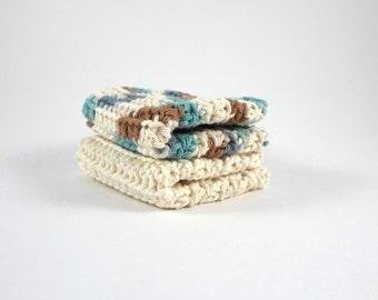 Crochet Cotton Wash Cloth Set, Crochet Dish Clothes, Set of 2 Crochet Wash Clothes, Crochet Kitchen Accessories