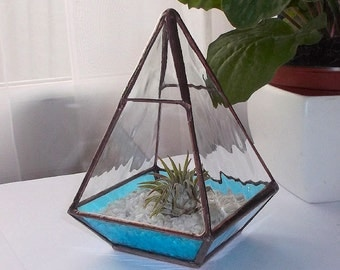 Stained Glass Terrarium, Stained Glass Air Plant Holder, Blue Glass Terrarium - MADE TO ORDER