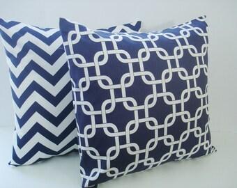 "Pillow Covers Set Of Two  Blue "" Chevron / Gotcha  "" 20 X 20  Accent Pillows  Throw Pillows  Decorative Throw Pillows"