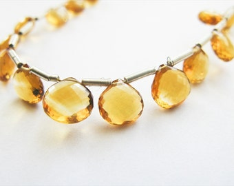 Citrine Briolettes, Heart, AAA, Micro Faceted, 5-8mm, Full Strand, 20 Beads