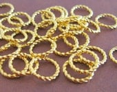 Gold Jump Rings 10mm (100) Large Twist Braided Plated Brass Metal Wholesale Bulk Finding Jewelry Supplies Decorative Shiny CrazyCoolStuff