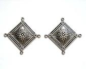 2 Moroccan Style Silver Connectors