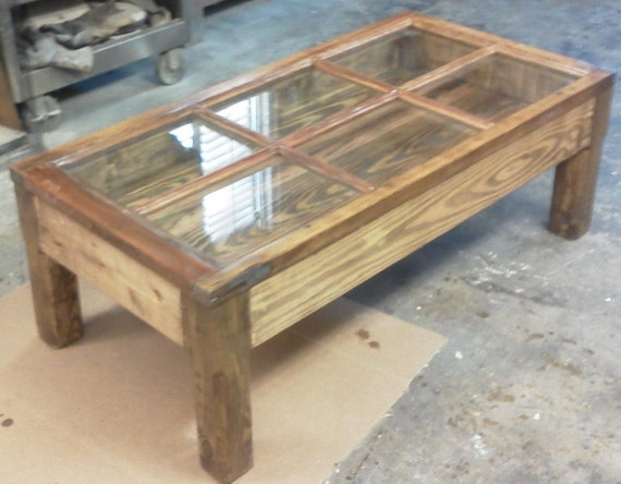 Items similar to hand made shadow box coffee table from for Diy shadow box table