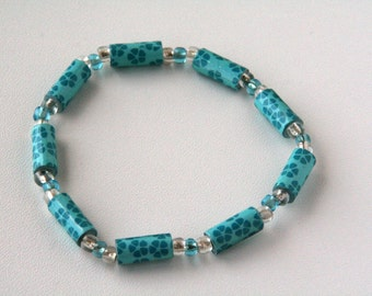 Turquoise Flower Print Paper Bead Stretch Bracelet