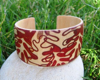 Autumn Leaves (Margret Hildebrand) -- adjustable wood bracelet (cuff)