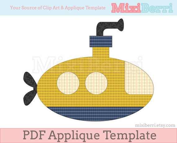 Yellow Submarine Applique Template PDF Applique By MixiBerri