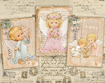 Digital Collage Sheet - Greeting Cards - Gift Tags - Jewelry Holders - Printable Collage - Instant Download - VINTAGE ANTIQUE ANGELS