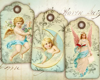Digital Collage Sheet - Vintage Angel Gift Tags - Best for paper craft, art projects - ANTIQUE ANGEL TAGS