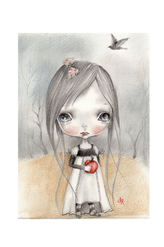 """original drawing..mixed media on fine art paper ...""""snow white"""""""