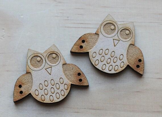 2 Craft Wood Little Owl Buttons, 5 cm Wide, Laser Cut Wood