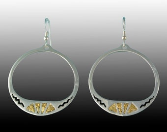 Style 119 Silver Earrings with 22Kt Natural Gold Inlay