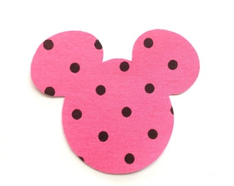 Iron-On Mouse Ears - Pink with Black Polka Dots