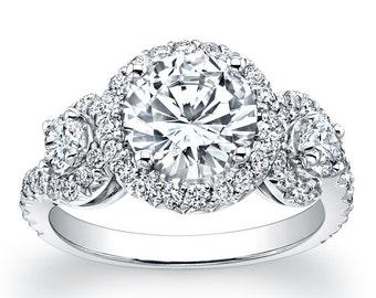 Ladies Platinum micro pave three stone engagement ring 1.00 ctw G-VS2 diamonds and 1.50ct White Sapphire Center