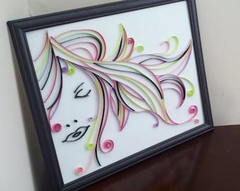 The secret woman - OOAK - Quilling247 - Handmade Original Framed Quilled Artwork
