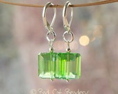 Spring Green Square Crystal Drop Earrings Silver Green French Silver Lever back Earrings