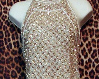 Vintage Evening Gown White and Gold Silk Scala
