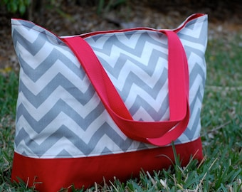 Gray Chevron with Red Canvas Tote