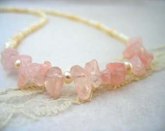 Rose Quartz Necklace, Ivory Beaded Necklace, Freshwater Pearl Necklace, January June Birthstone, Bridal Pink Necklace, Pastel Bead Necklace