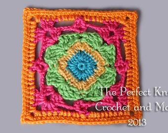 "PDF Crochet Pattern - Diamond Delight 6"" Square"