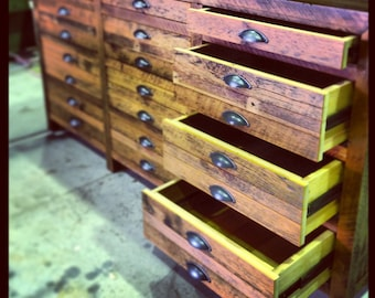 Eco Recycled Hand Crafted / Recycled Timber Ol' Skool Printer's Cabinet with Graduated Drawers