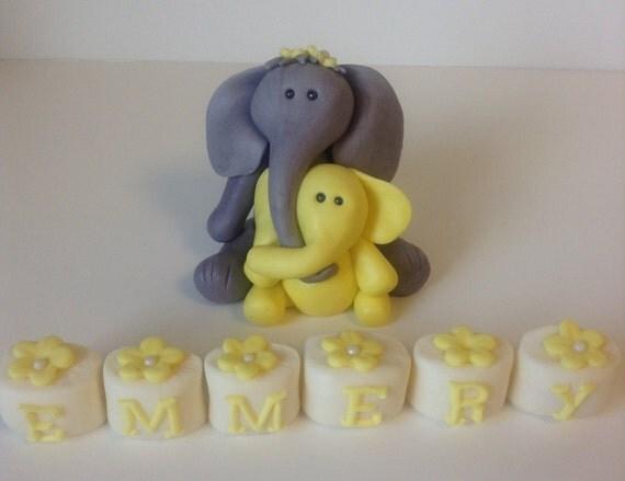 Edible Cake Images Elephant : Items similar to ELEPHANT MAMA And BABY Cake Topper ...