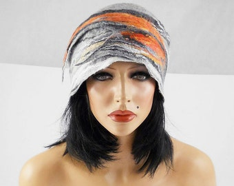 Felted Hat Designer Hat BEDOUIN BEAUTY Grey Hat Artistic Hat Felt HatFelt wearable art Nunofelt Nuno felt