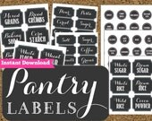 INSTANT DOWNLOAD Pantry Chalkboard Labels- Printable Pantry and Spice Jar Labels-Editable Labels