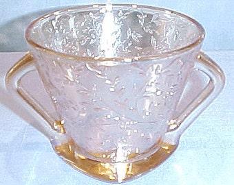 Floragold Iridized 40s 50s 60s Glass Sugar Bowl