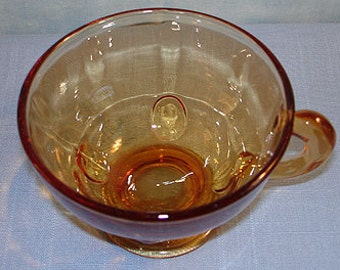 Moondrops Amber Depression Glass Cup