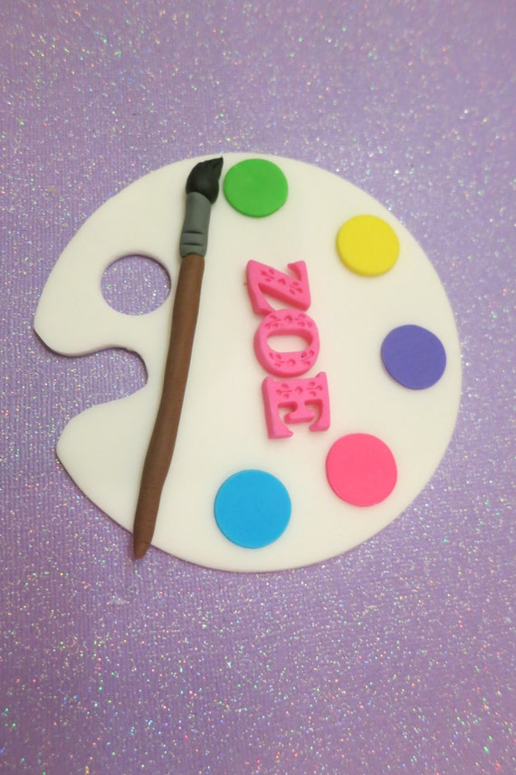 Art Palette paint brush artist Art Party fondant cake topper