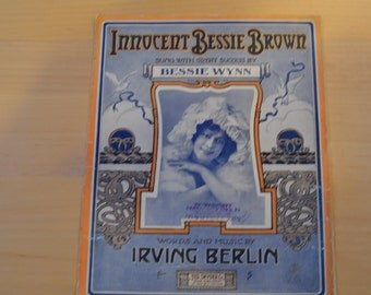 Sheet Music Innocent Bessie Brown by Irving Berlin 1910