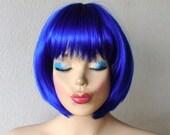 Blue Wig.  Royal blue wig. Short wig. Bob hair wig. Color wig. High quality synthetic cut woman short hairstyle wig.
